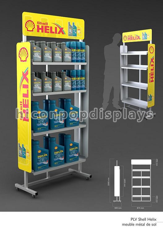 Custom gas station flooring retailing 4-layer metal machine oil display rack
