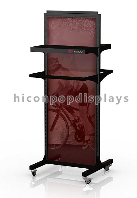 Cycling wear retail store 4- caster movable double sided hanging display stand