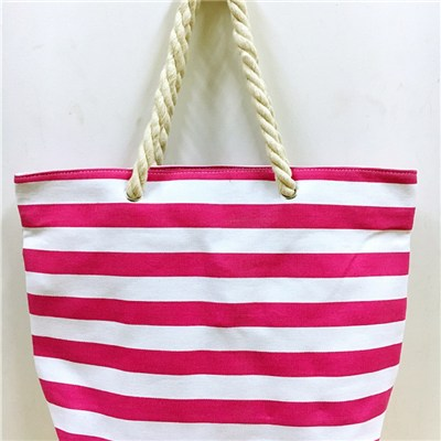 SAMLL SIZE CANVAS BEACH BAG, COTTON ROPE HANDLE JH15106