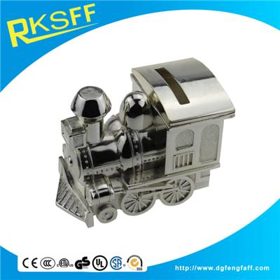 Zinc Alloy Silver Train Coin Bank