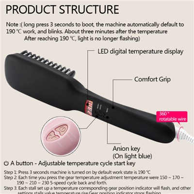 Black Ionic Hair Straightener Brush Can Be Temperature Control