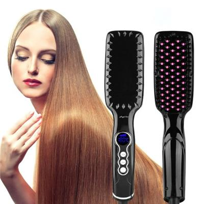 Anti Scald Black LED Hair Straightener Brush With Dual Voltage