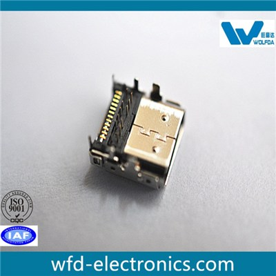 24Circuits,C/H 0.75MM Hybird Receptable Type C (P/N:USB-F0512-D5510)