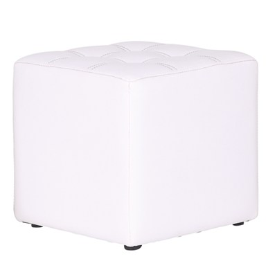White Leather Storage Stool