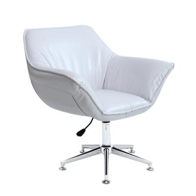 White Leather Bar Chair With Five Star Feet