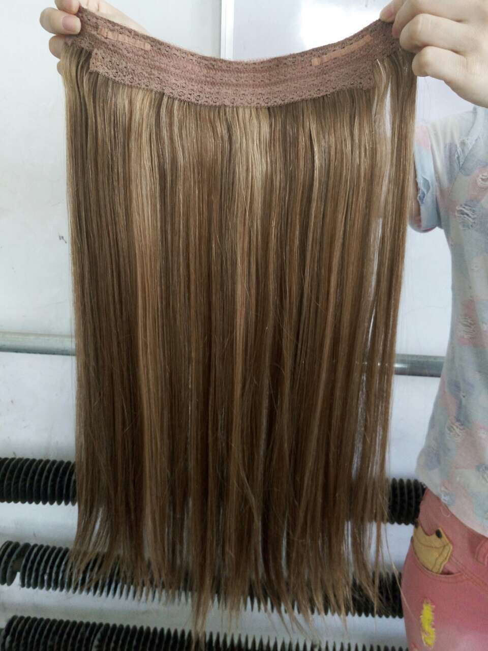 One Piece Halo Remy Hair Extensions Quad Weft One Piece Clip Hair
