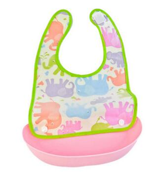Lovably baby elephant, Waterproof PVC coating, cotton back baby bibs with silicone Food and Crumb Catcher