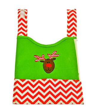 Christmas deer printed, creative and cute, waterproof baby bibs with pocket