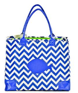 High Fashion Print Large Insulated Water Resistant Lunch Bag Cooler Tote (Blue with White Chevrons)