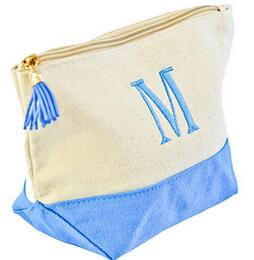 Jute/Canvas Large Cosmetic Toiletry Bag/Travel Pouch