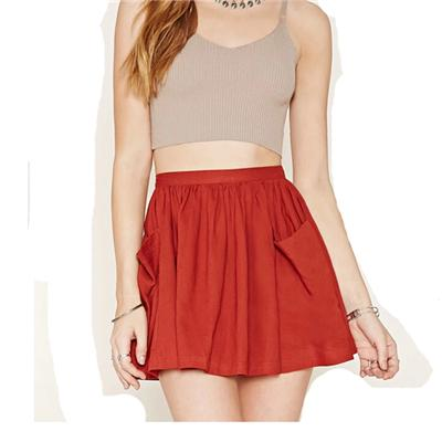 Solid Color Mini Skater Skirt With Pocket