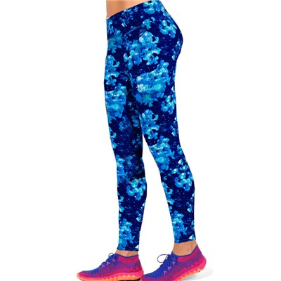 Blue Middle Alternating Shades Floral Leggings