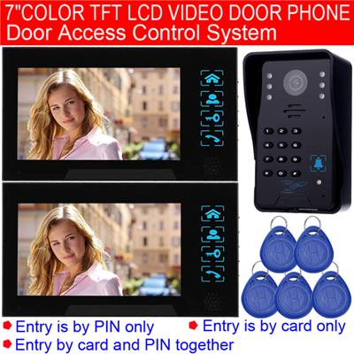 7inch Color LCD Screen Wired Video Intercom With Door Access Control System