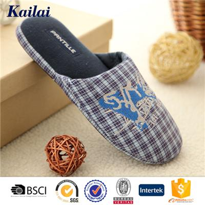 Plaid Embroidery Big Head Slipper