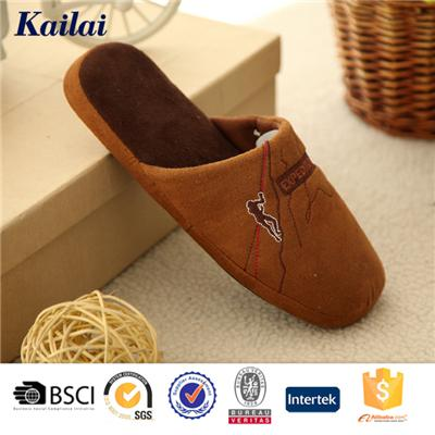 Suede Fabric Embroider Men Slipper