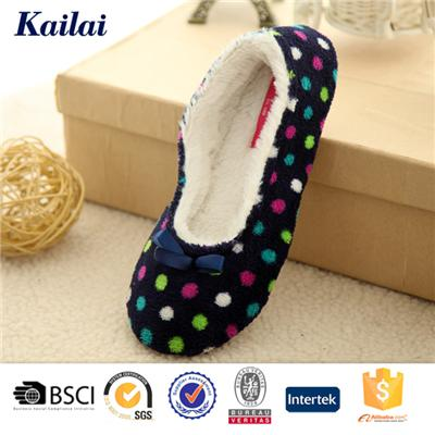 Printed Coral Fleece Bowknot Dance Shoes