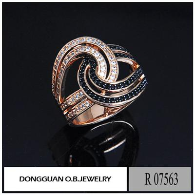 R7563 Copper Material Rose Gold Plated #113 Corundum Ring