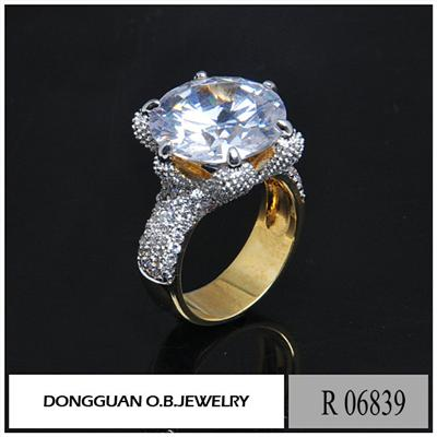 R6839 Two Color Plated 24K Saudi Gold Big Diamond Jewelry Ring