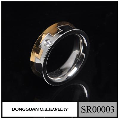 SR0003 Stainless Steel Gold And Silver Finger Men's Ring