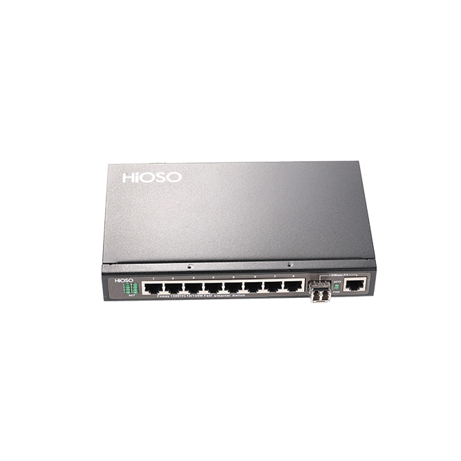 8 10/100M TP + 2 100/1000M Combo uplink Ethernet Switch
