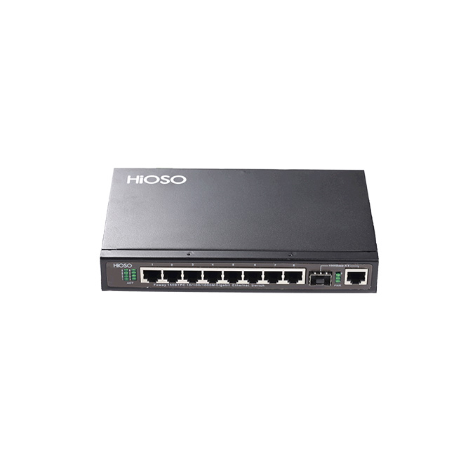 Network Switch with 8 100/1000M TP + 1 1000M Combo uplink