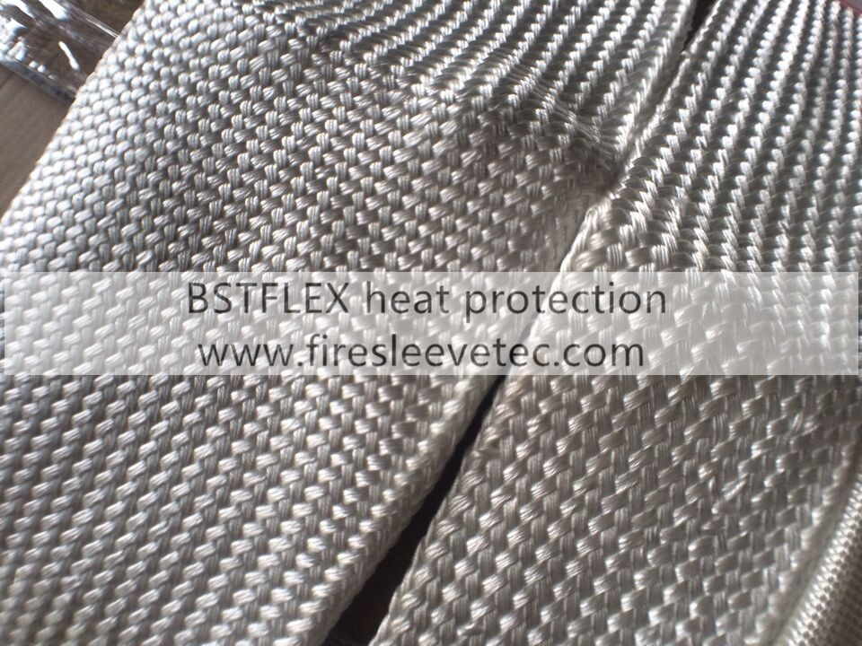 Silica fiber braided sleeve for hose wire line cable heat protection