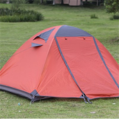 Manual Aluminum Pole Light Two Layers Anti-mosquito Anti UV Couple Tent With Two Doors