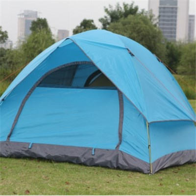 3-4 People Aluminum Pole Water Proof Two Layer Manual Open Light Family Tent