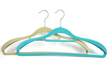green Wholesale high quality custom creative plastic drying cheap velvet coat hangers with four lines