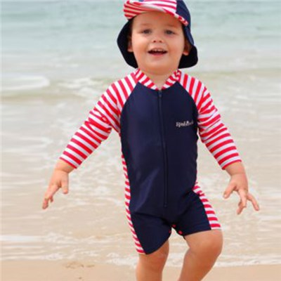 UV Protective Popular Design Long Sleeve Baby Swimwear Boy And Hat Set, Infant Swimming Wear For Baby Boys Swimsuit