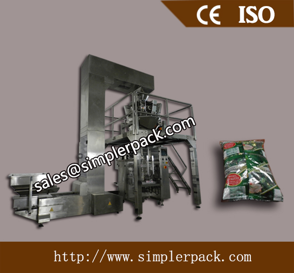 Pillow Bag Dried Banana Chips Packaging Machine with 10 Head Weighs