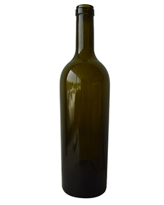 good quality 750ML Antique Green Bordeaux /Conical Glass Wine Bottle with Cork supplier