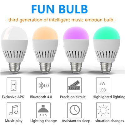 App Wifi Operation Colorful LED Bulb Light Buletooth Mini RGB Speaker