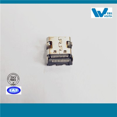 4 Plug Pins USB Type C SMT Double-row Female Connector With Positioning Pins(P/N:USB-F08512-S5504)