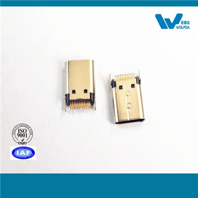 Type C Micro USB Male Splint 0.8 Connector (P/N:USB-M0512-D5509)