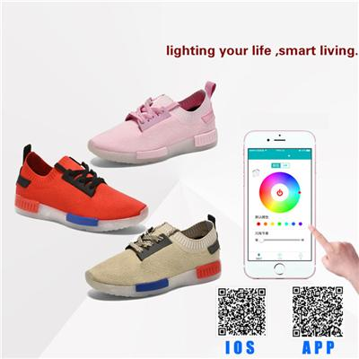 New Arrival App Control LED Lighting Up Sport Shoes For Woman And Child