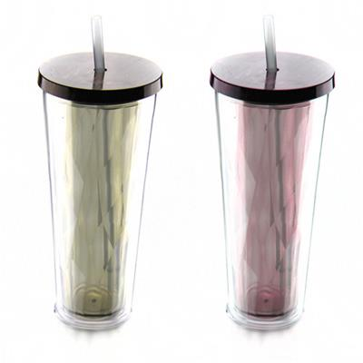 2016 New Design Products AS Double Wall Good Quality Plastic Tumbler With Straw