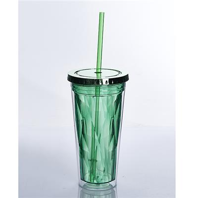 20OZ AS Material Double Wall Tumbler With Straw Ice Feeling Clear Tumbler Cup