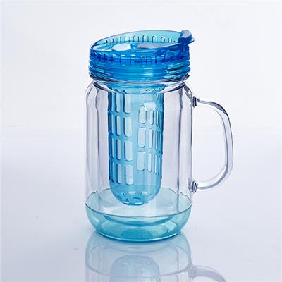 TT-2014024 20OZ Double Wall Mason Jar AS Material Clear With Fruit Infuser Inside Hot Sale