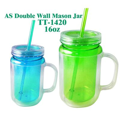 TT-1420 16OZ AS Clear Double Wall Juice Mason Jar With Handle And Straw Manufacturers