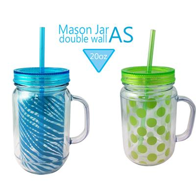 TT-1008 20OZ Reusable AS Double Wall Plastic Mason Jar With Handle And Lid Hot New Products For 2016 With PVC Insert