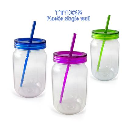 TT-2014021 24OZ AS Single Wall Marson Jar With Handle And Straw For Free As Promotion