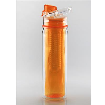 K250 500ML Easy Drinking Double Wall Fruit Infuser Tritan Water Bottle Travel Mug Bottle