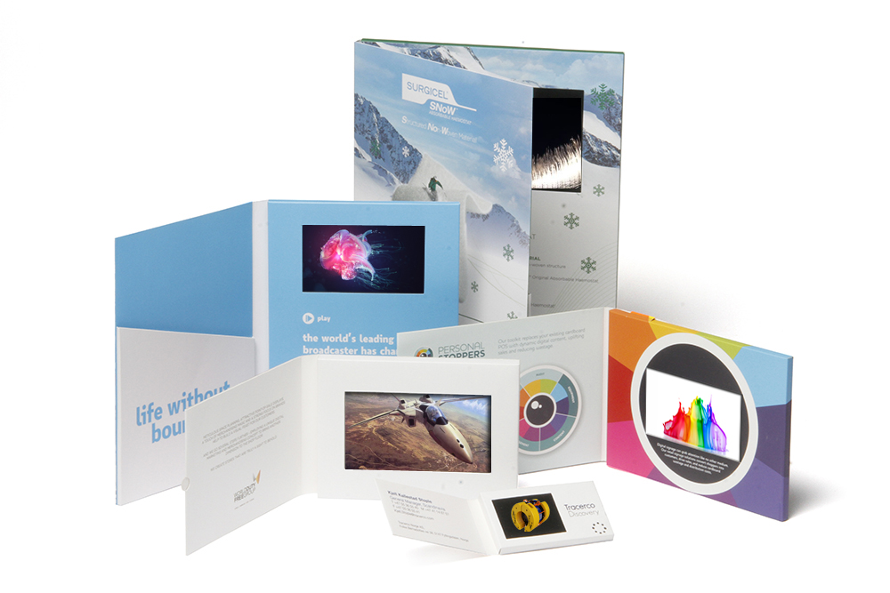 custom design LCD screen video brochure video box