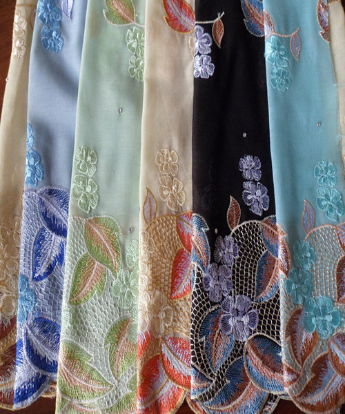 Polyester Printed Voile Fabric Scarf Embroidered Voile Scarf