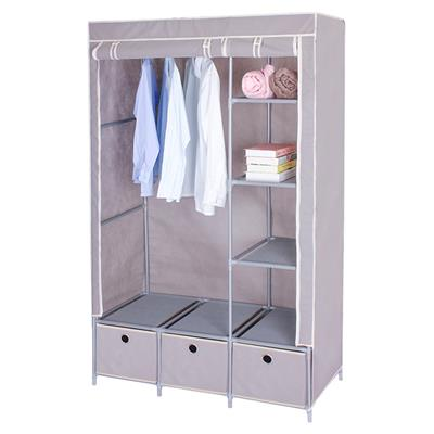 Modern Design Double Door Canvas Wardrobe With Shelves And Drawers