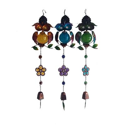 Glass/Copper Bells/Owl Metal/Aeolian Bells Glass Gifts/ The Owl Chimes Solar Outdoor Living Garden Home Décor