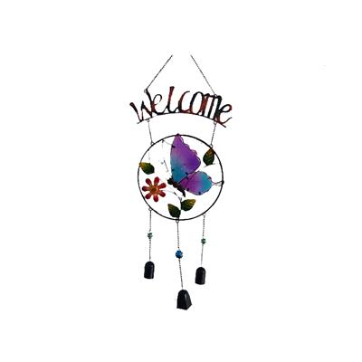 Stain Glass Wind Chime Bell/metal/butterfly/frog Wind Chime Outdoor Indoor Garden Yard Decor Welcome Sign