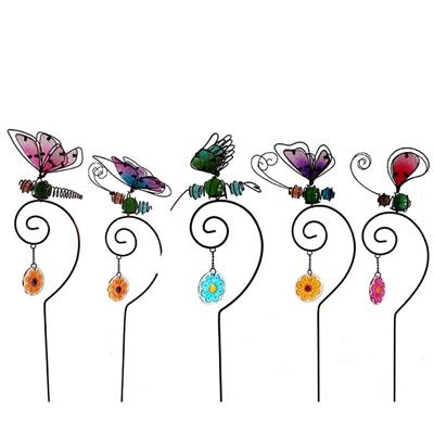 Color Glass/metal Elegant Butterfly Design Garden Stake
