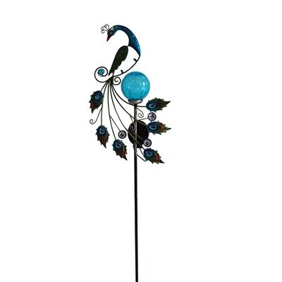 Solar-powered Metal And Color Glass Peacock Garden Stake, Yard Outdoor Art Décor